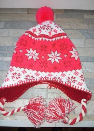 Супер яркая шапка зимняя на флисе