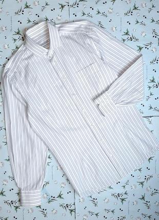 🎁1+1=3 качественная белая приталенная рубашка в полоску van ja...