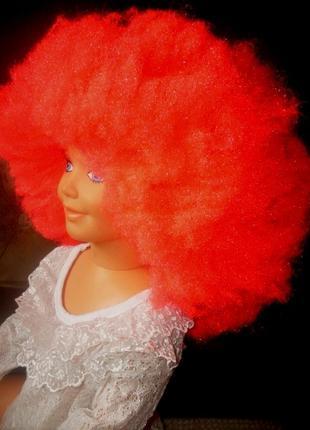 Парик маскарадный ярко-розовый - большая очень густая шапка волос