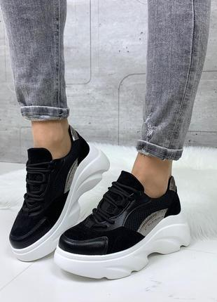 Стильные чёрные кроссовки на платформе,черные кроссовки с бело...