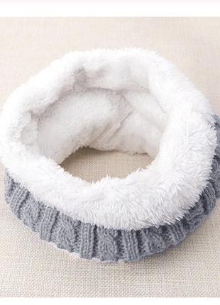 Хомут теплый, зимний, шарф,снуд, на флисе, косы серый