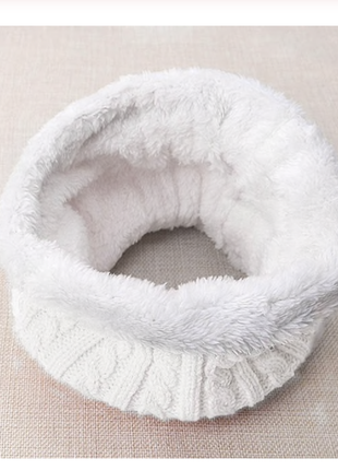Хомут теплый, зимний, шарф,снуд, на флисе, косы белый