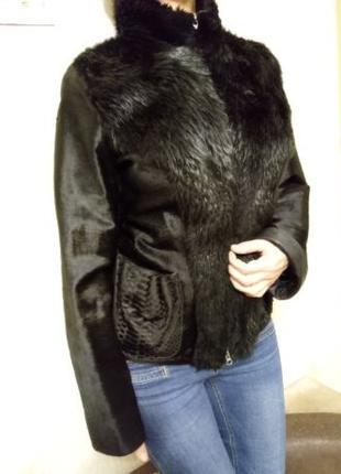 Куртка, натуральная кожа, натуральный мех