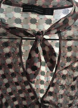 Классика-декольте -галстук-стильная блузка zara оригинал !!!