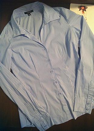 Рубашка в тонкую полоску amisu ,бело-синюю полосочку