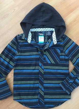 Рубашка с капюшоном  оригинал фирмы hawk на мальчика 9-10 лет ! 💙