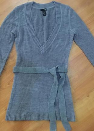 Тёплый -мягкий ,удлинённый свитер с поясом h&m