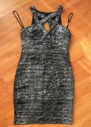 Коктейльное -крутое платье цвета меланж с серебристой нитью !🖤