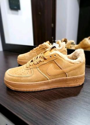 Зимние✳️nike air force fur✳️женские коричневые кроссовки/кеды ...