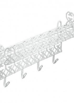 Полка Metaltex с крючками для ванной (421901)