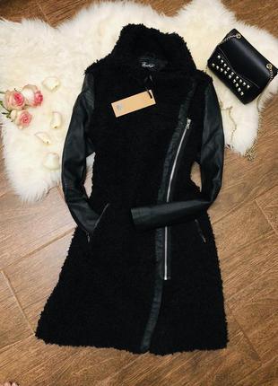 Красивая искуственная шубка-пальто с вставками с эко кожи