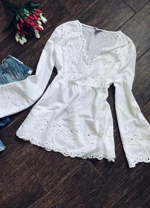 Летняя белая натуральная блуза большого размера