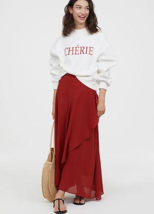 Очень стильная макси юбка на запах терракотового цвета