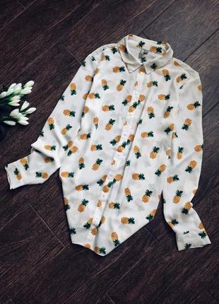 Очень стильная рубашка большого размера с принтом ананасик