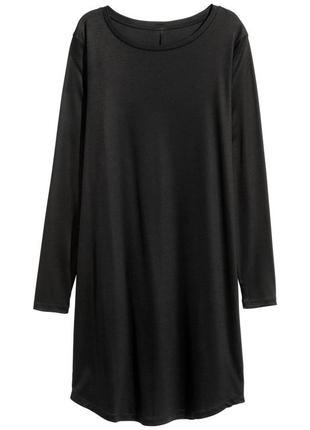 Базовое черное натуральное платье с длинным рукавом