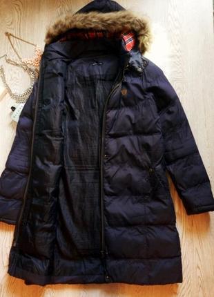 Синий длинный зимний пуховик куртка пальто с капюшоном и мехом...