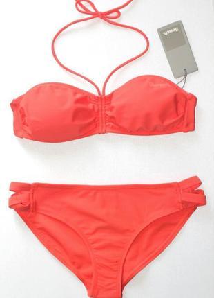 Фирменный купальник бикини бандо, оранжевый, bench, xl.