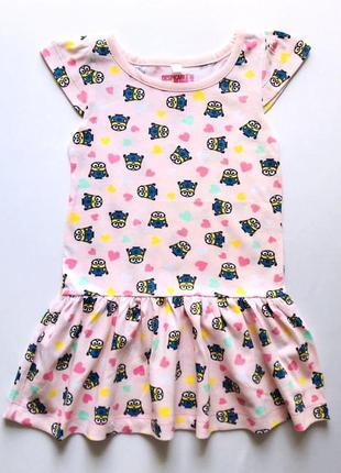 Трикотажное коттоновое летнее детское платье, сарафан, minion™...