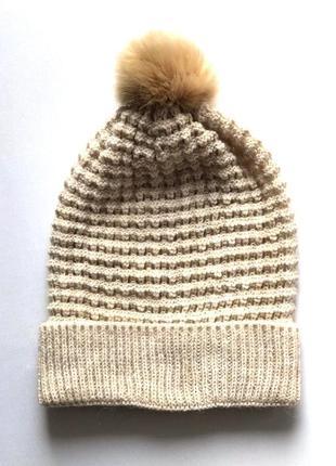 Симпатичная шапка бини с помпоном, ажурной вязки, c&a, one size.