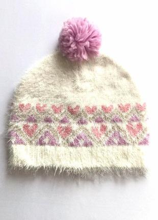 Мягкая детская шапка бини травка с помпоном на девочку, c&a, 5...