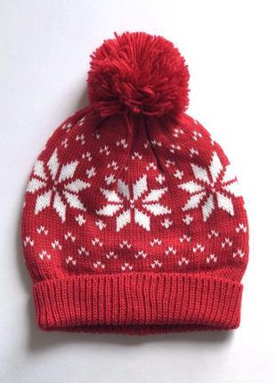 Женская тёплая шапка бини с помпоном, скандиавский узор, c&a, ...