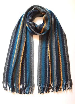 Стильный элегантный мужской трикотажный тёплый шарф c&a