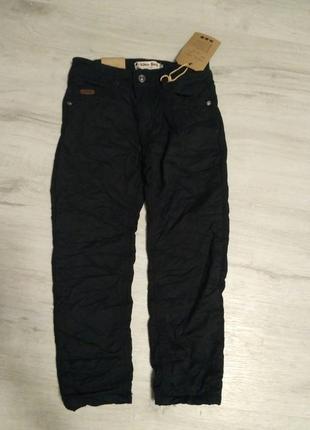 Черные котоновые брюки на флисе для мальчика 116-146. венгрия