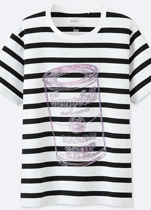 Женская полосатая футболка uniqlo sprz ny + andy warhol