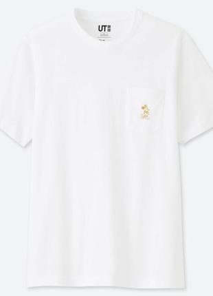 Белая футболка с микки маусом uniqlo mickey stands ut