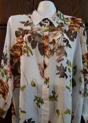 Белая блузка в цветы  ly-м-л №102 италия