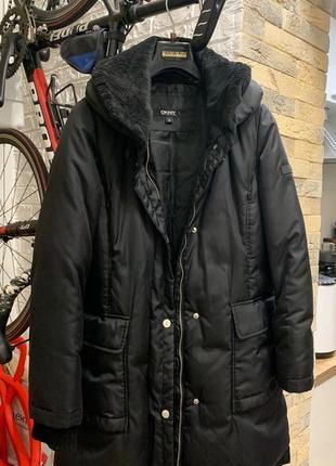 Зимний чёрный пуховик пальто куртка