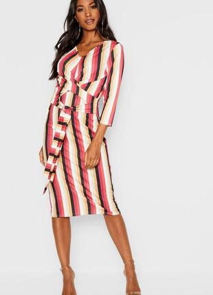 Новое фирменное длинное миди платье в полоску от boohoo