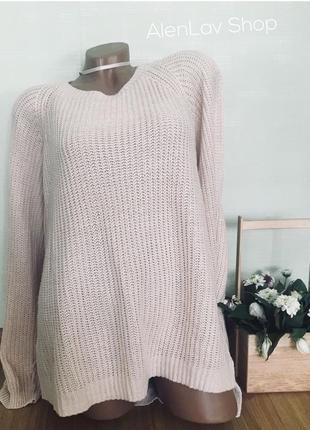Нежно розовый свитер большого размера