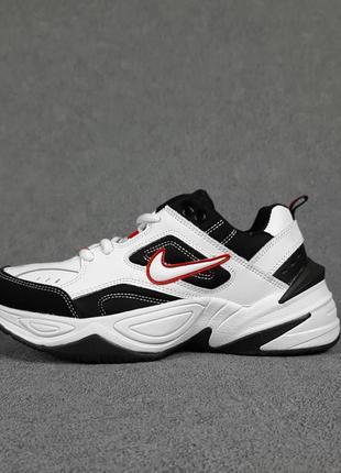 Кроссовки nike m2k белые с черно/красным