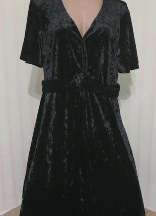 Новое шикарное черное вечернее велюровое платье большого размера