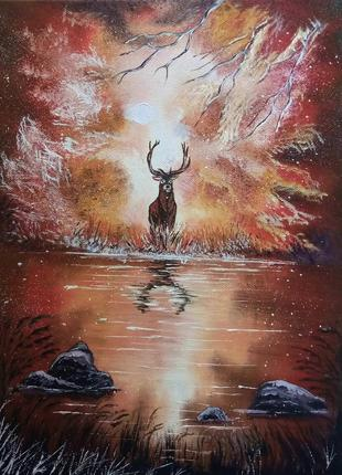 Олень у реки Эксклюзивный подарок Оригинальная картина с пейзажем
