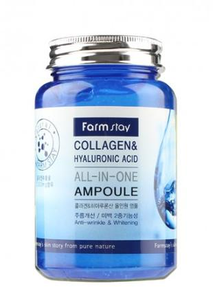 Farmstay Collagen and Hyaluronic Acid All In One Ampoule 250мл.
