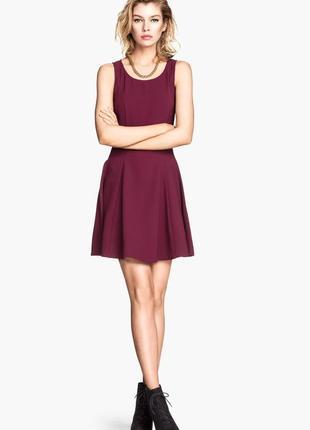 Скидка только 13.12!!! h&m бордовое мини платье, р.38, s-ка