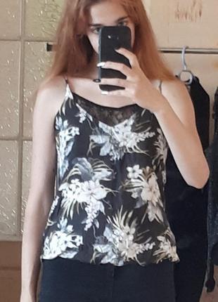 Майка кружевная с кружевом черная с цветами вискоза