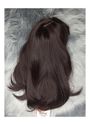 Парик черный каре с челкой прямые волосы темный боб каштановый