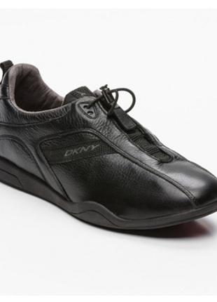 100% кожа. оригинал новые кроссовки dkny, чёрные.