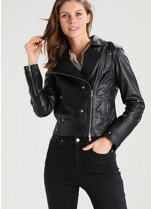 Новая куртка косуха из кожи со звёздами, eu34 (xxs-xs) one mor...