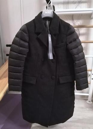 Новое. оригинал. пальто пуховик add 75% шерсть/100%пух it42 xs-s