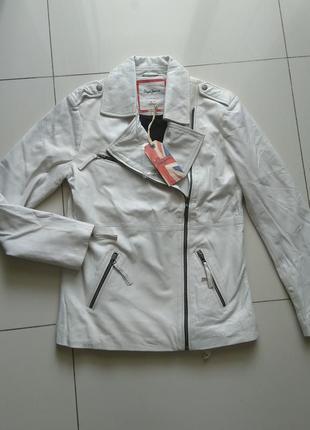 Новая, удлинённая, кожаная куртка косуха pepe jeans london нюа...