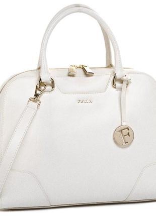 Новая оригинал. статусная кожаная сумка furla dolly белая кожа...