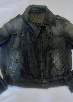 Ультрамодная куртка из джинсы и льна cerutti. италия. оригинал l