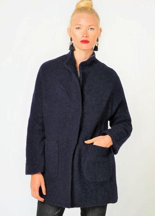 Короткое пальто из шерсти, пиджак/полупальто/жакет. цвет индиг...