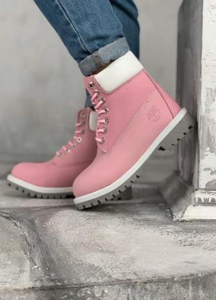 Timberland pink женские зимние ботинки розовые с мехом
