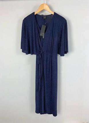 Качественное вечернее коктейльное темно-синее платье миди с эф...