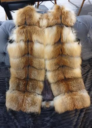 Меховая жилетка с лисички жилет лиса мех